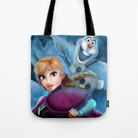 olaf Tote Bags featuring Anna & Olaf  by This Is Niniel Illustrator