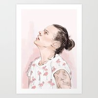 coconutwishes Art Prints featuring Harry Flamingo by Coconut Wishes