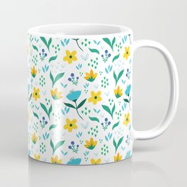 Summer flowers in yellow and blue in white background Coffee Mug