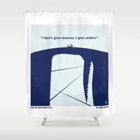 moby dick Shower Curtains featuring No267 My MOBY DICK minimal movie poster by Chungkong
