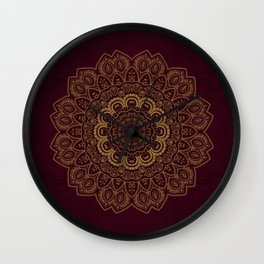 Gold Mandala on Royal Red Background Wall Clock