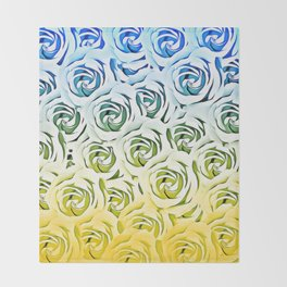 rose pattern texture abstract background in blue and yellow Throw Blanket