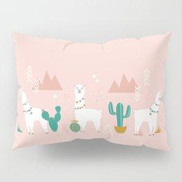 Llamas + Cacti on Pink Pillow Sham