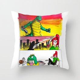 Wadezilla Throw Pillow