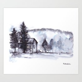 Little Farm Watercolor with Trees and Mountain Art Print
