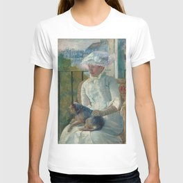 Young Girl at a Window Oil Painting by Mary Stevenson Cassatt T-shirt