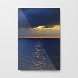 Blue Sunrise At The High Sea. After The Storm Metal Print