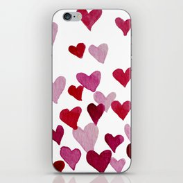 Valentine's Day Watercolor Hearts - pink iPhone Skin