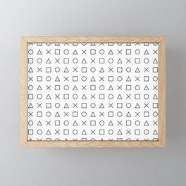 gaming design white - gamer pattern black and white Framed Mini Art Print