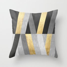 Gold and gray lines I Throw Pillow