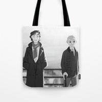 johnlock Tote Bags featuring sherlock paperman by Marie Mikolay