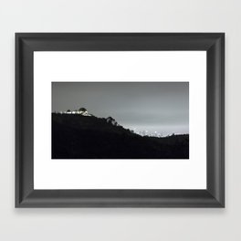 Griffith Park Observatory and Los Angeles Skyline at Night Framed Art Print