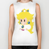princess peach Biker Tanks featuring Princess Peach - Minimalist  by Adrian Mentus