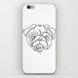 Minimal art single line cute pug face linear illustration iPhone Skin