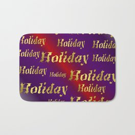 golden holiday text in red and purple metal Bath Mat