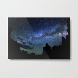 Milky Way Mountain night Metal Print