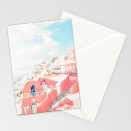 Mamma Mia Greece Pink Streets Old Village photography Stationery Cards