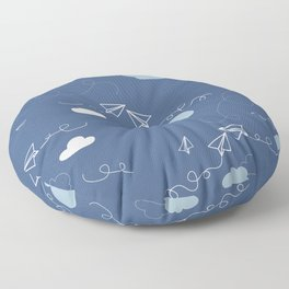 Take flight Paper planes in Blue Floor Pillow