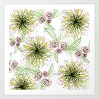 Zipper Blooms + Buds Art Print