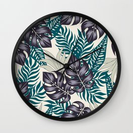 Fashionable seamless tropical pattern with bright plants and leaves on a beige background. Beautiful print with hand drawn exotic plants. Printing and textiles. Colorful stylish floral. Wall Clock
