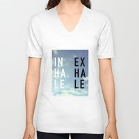 2pac V-neck T-shirts featuring Inhale Exhale by Text Guy