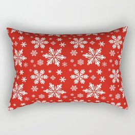 SNOWFLAKES ON RED Rectangular Pillow