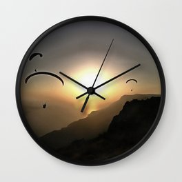Paragliders Flying Without Wings Wall Clock