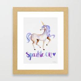 Sparkle On — Purple Unicorn Framed Art Print