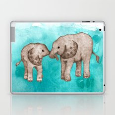Baby Elephant Love - sepia on watercolor teal Laptop & iPad Skin