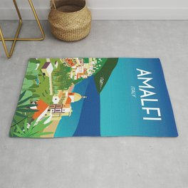 Amalfi Italy vintage travel poster city Rug