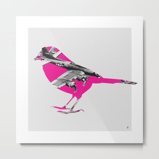 Pink Bomber Bird Metal Print