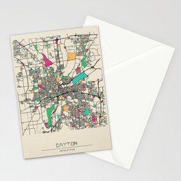 Colorful City Maps: Dayton, Ohio Stationery Cards