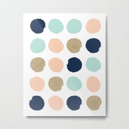 Wren - Pastel Brush Stroke Minimal Dots with glitter  Metal Print