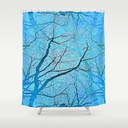 Interconnected Paths (ice blue) Shower Curtain