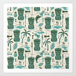 Tropical Tiki - Cream & Aqua Art Print