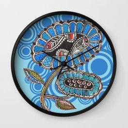 Madhubani - Blue Fish Flower2 Wall Clock