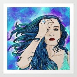 The blue hair girl Art Print