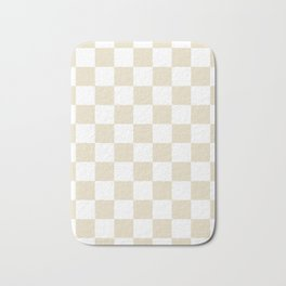 Checkered - White and Pearl Brown Bath Mat