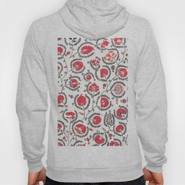 Wildflower II // 18th Century Positive Happy Colorful Red Green Botanical Garden Flowery Pattern Hoody