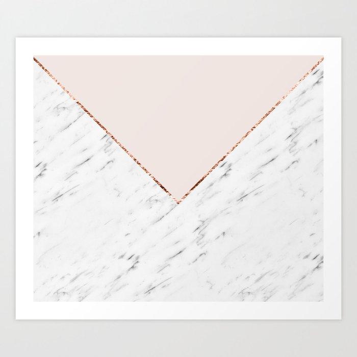 Peony blush geometric marble Kunstdrucke