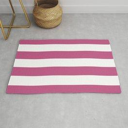 Large Bashful Pink and White Horizontal Cabana Tent Stripes Rug