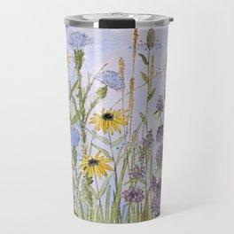 Wildflower Garden Watercolor Flower Illustration Travel Mug