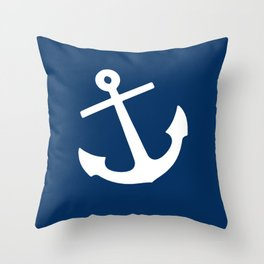 Navy Blue Anchor Throw Pillow