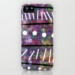 White polka dot and line iPhone Case
