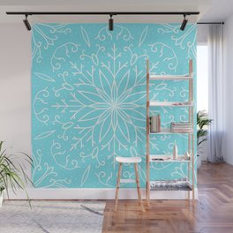 Single Snowflake - Mint Blue Wall Mural