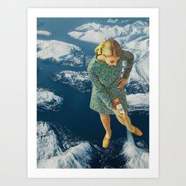 Spraying snow on the mountains Art Print