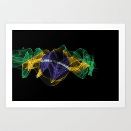 Brazil Smoke Flag on Black Background, Brazil flag Art Print