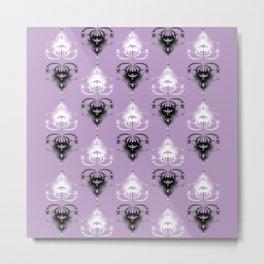 Ornament medallions - Black and white fractals on crocus petals color Metal Print
