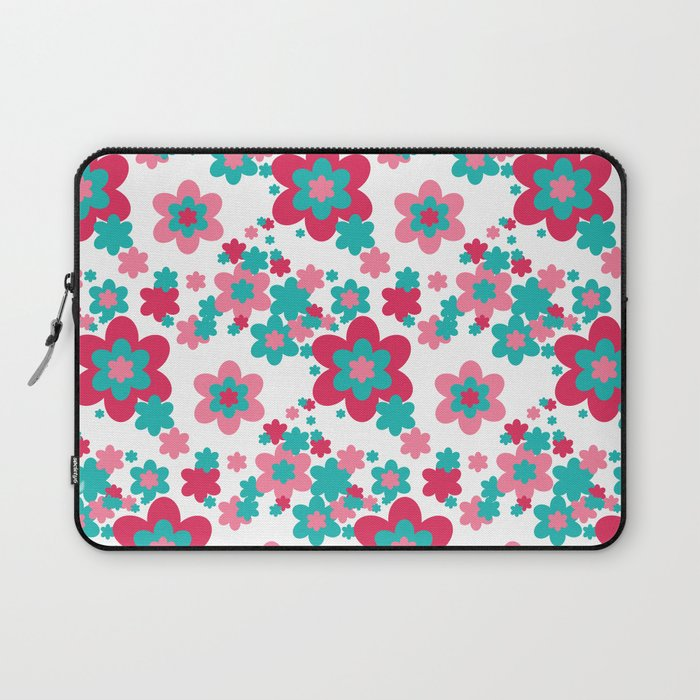 Pink Raspberry Aqua Blue Floral  Laptop Sleeve