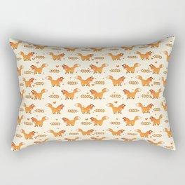 Red Fox & Hearts Pattern Rectangular Pillow